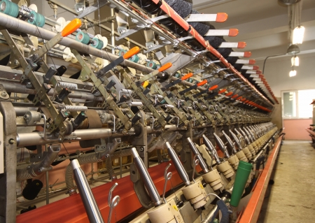 Textile industry  denim  - Weaving and warping photo