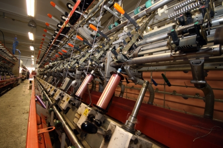 Textile industry  denim  - Weaving and warping Stock Photo - 16780402