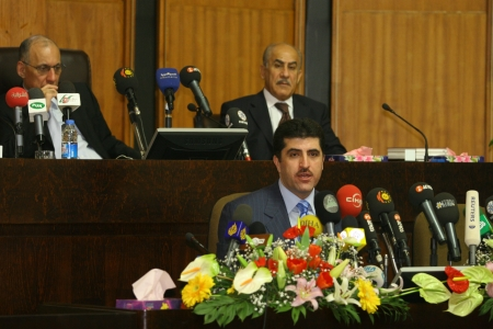 ARBIL, IRAQ-JANUARY 1: Kurdistan Regional Government Prime Minister Nechirvan Barzani makes parliamentary speech on January 1, 2007 in Arbil, Iraq. Stock Photo - 16817448
