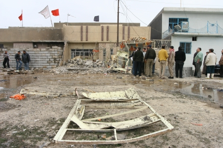 KIRKUK,IRAQ-FEBRUAR Y 3 : Houses destroyed by a car bomb explosion in Kirkuk on February 3, 2007 in Kirkuk,Iraq. Editorial