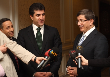 democrat party: ISTANBUL - MARCH 30: The Press conference Kurdish Democrat Party Vice President Nacirvan Barzani and Foreign Minister Ahmet Davutoglu on March 30, 2010 in Istanbul.