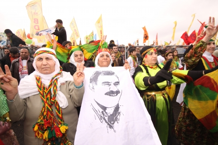 apo: ISTANBUL,TURKEY - MARCH 20  Kurds celebrating their traditional feast Newroz that means  new day  in kurdish on March 20, 2011 in Istanbul, Turkey