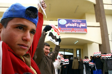 politican: KIRKUK, IRAQ -FEBRUARY 3  Arab parties are doing a press release to protest connecting Kirkuk to Kurdistan region on February 3, 2007 in Kirkuk,Iraq  Editorial