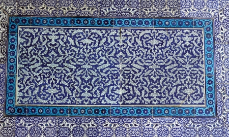 Ancient Iznik Tiles with floral Pattern - Topkapi Palace, Sultanahmet District, Istanbul, Turkey