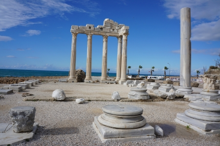 Apollon Temple in Side - Antalya - Turkey                              Stock Photo