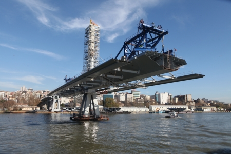 Istanbul,Turkey-December 26, 2012: The ongoing construction of the Golden Horn Metro Bridge has been criticized for breaking city's skyline on December 26, 2012 in Istanbul,Turkey