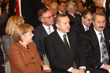Istanbul - March 30, 2010: Germany Prime minister Angela Merkel and Turkey Prime minister Recep Tayyip Erdogan at Germany Turkish Economic Meeting March 30, 2010 in Istanbul, Turkey. Stock Photo - 17201674