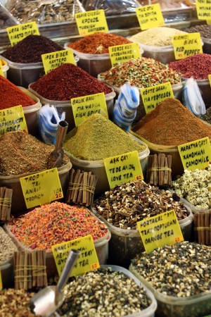 Piles of spices in pots for sale, Istanbul, Turkey Stock Photo - 17175934