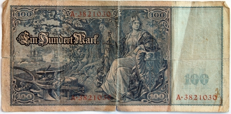 Vintage withdrawn 100 Mark banknote of the Deutsches Reich  German Empire , year 1908 Stock Photo - 17377906