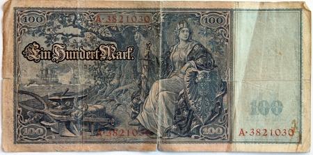 reich: Vintage withdrawn 100 Mark banknote of the Deutsches Reich  German Empire , year 1908