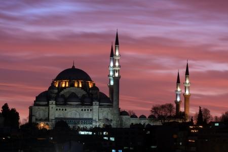 suleymaniye: Suleymaniye Mosque silhouette in Istanbul