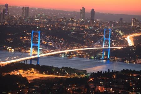 Bosphorus Bridge at Night Stock Photo