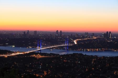 Bosphorus Bridge at night in Istanbul,Turkey Stock Photo - 17181464