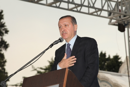 recep tayyip erdogan: ISTANBUL,TURKEY-MAY 29: Prime Minister Recep Tayyip Erdogan speaks at the reopening of the Faith Mosque afte the restoration of five years on May 29,012