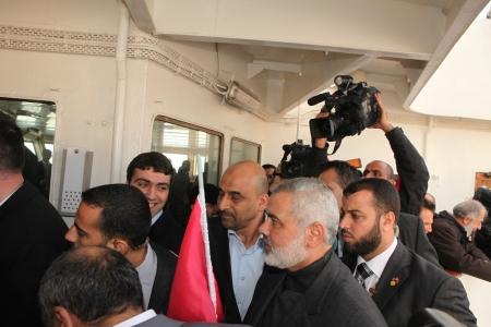 Istanbul, Turkey - January 2 : Ismail Haniyeh, prime minister of the Palestinian administration in Gaza, visited Mavi Marmara ship on January 2, 2012,Istanbul, Turkey. Stock Photo - 17249487