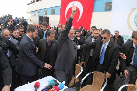 Istanbul, Turkey - January 2 : Ismail Haniyeh, prime minister of the Palestinian administration in Gaza, visited Mavi Marmara ship on January 2, 2012,Istanbul, Turkey. Stock Photo - 17249480