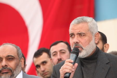 gaza: Istanbul, Turkey - January 2 : Ismail Haniyeh, prime minister of the Palestinian administration in Gaza, visited Mavi Marmara ship on January 2, 2012,Istanbul, Turkey. Editorial