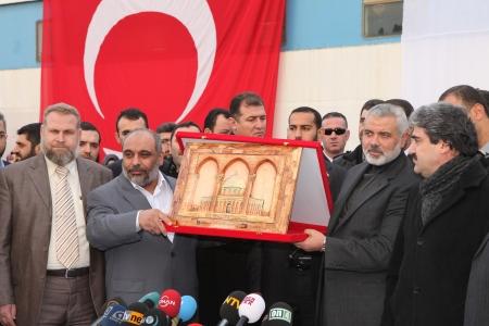 Istanbul, Turkey - January 2 : Ismail Haniyeh, prime minister of the Palestinian administration in Gaza, visited Mavi Marmara ship on January 2, 2012,Istanbul, Turkey. Stock Photo - 17249489