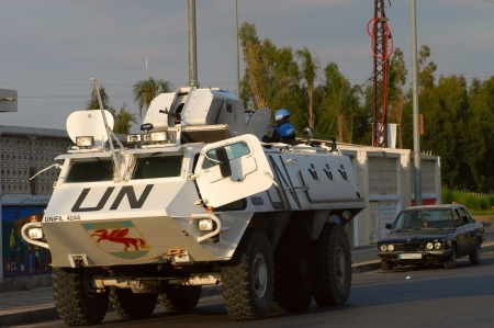 TYR, LEBANON-OCTOBER 18:Unidentified UN vehicle on patrol on October 18, 2006 in Tyr, Lebanon