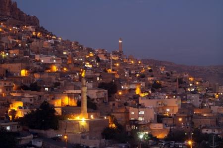 Night lights of the Mardin City,Turkey  Stock Photo