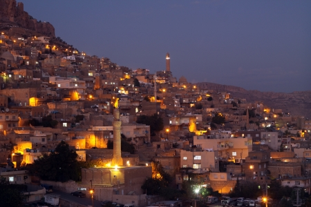 Night lights of the Mardin City,Turkey  Stock Photo
