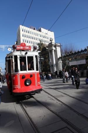 eventide: ISTANBUL, TURKEY - FEBRUARY 5 :Taksim istiklal street at eventide on February, 2012 in Istanbul,Turkey. Taksim Istiklal street is a popular tourist destination in Istanbul.