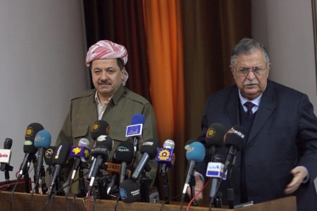 Sulaimaniya,Iraq-January 5, 2008:President of Democrate Party Massoud Barzani and Jalal Talabani announced that they will cooperate at elections on January 5,2008 in Sulaimaniya,Iraq