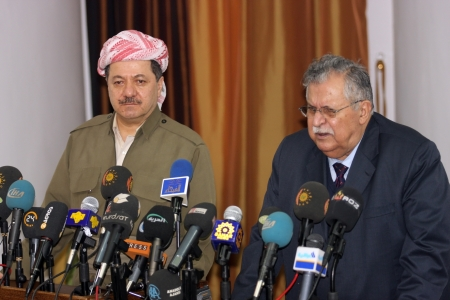 elective: Sulaimaniya,Iraq-January 5, 2008:President of Democrate Party Massoud Barzani and Jalal Talabani announced that they will cooperate at elections on January 5,2008 in Sulaimaniya,Iraq