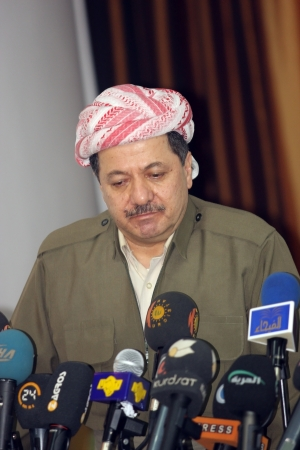 Sulaimaniya,Iraq-January 5, 2008:President of Democrate Party Massoud Barzani announced that they will cooperate with Kurdistan Patriots Union at elections on January 5, 2008 in Sulaimaniya,Iraq.