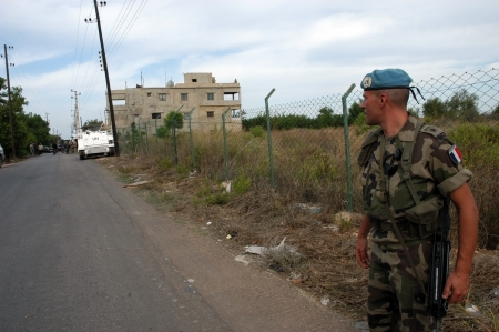 tyr: Tyr, Lebanon-October 18, 2006: UN soldier on patrol on October 18, 2006 in Tyr, Lebanon