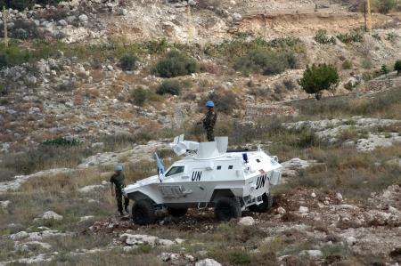 tyr: Tyr, Lebanon-October 21, 2006: Turkish UN vehicle on patrol on October 21, 2006 in Tyr, Lebanon