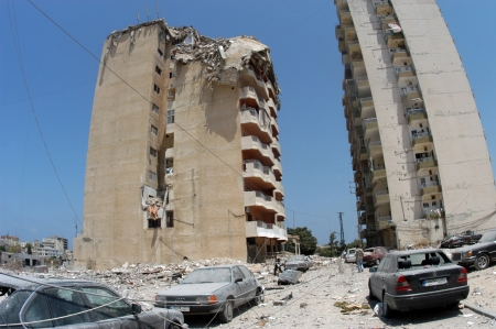Tyr, Lebano - June 26, 2006 : Buildings destroyed by Israeli bombing in the city of Beirut on June 26. 2006, Tyr,Lebanon.