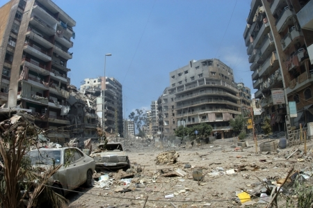israeli: Beirut, Lebanon - July 20,2006 : Buildings destroyed by Israeli bombing in the city of Beirut on July 20, 2006, Beirut,Lebanon.