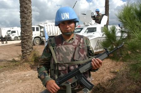 un: Tyr, Lebanon-October 21,2006: Unidentified Turkish UN vehicle on patrol on October 21, 2006 in Tyr, Lebanon