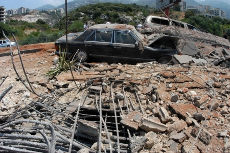 bombed city:  Beirut, Lebanon-August 4, 2006: A bridge damaged by Israeli bombings in 2006, overlooking a highway south of Beirut on August 4, 2006, Beirut,Lebanon.                                                             Editorial