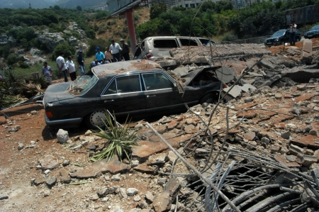 bombings: Beirut, Lebanon-August 4, 2006: A bridge damaged by Israeli bombings in 2006, overlooking a highway south of Beirut on August 4, 2006, Beirut,Lebanon.                                                               Editorial