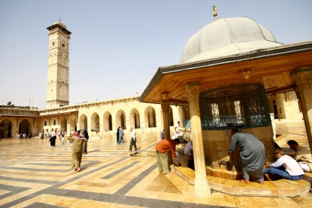 Aleppo,Syria-October 12, 2007: Muslims are waiting for the call to prayer at the Umayyad Mosque on October 12, 2007 in Aleppo,Syria. Editorial