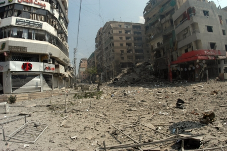 Beirut, Lebanon - July 20,2006 : Buildings destroyed by Israeli bombing in the city of Beirut on July 20, 2006, Beirut,Lebanon.                                                          Stock Photo - 17392763