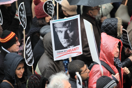 Thousands marched for the 6th Anniversary of journalist Hrant Dink�s murder in Istanbul, Turkey  People held placards that read  We are all Armenians,we are all Hrant    Stock Photo - 17522206