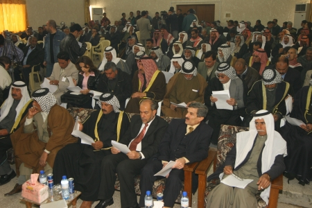 politican: Kirkuk, Iraq -February 3, 2007 :Arab parties are doing a press release to protest connecting Kirkuk to Kurdistan region on February 3, 2007 in Kirkuk,Iraq.