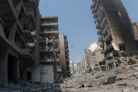 Beirut, Lebanon - July 20,2006 : Buildings destroyed by Israeli bombing in the city of Beirut on July 20, 2006, Beirut,Lebanon.