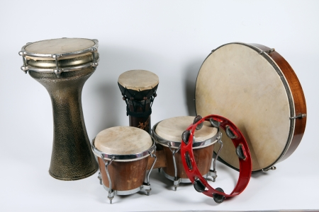 The image of ethnic Turkish drums under the white background