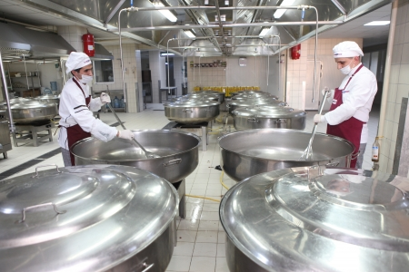 Food factory workers in Istanbul,Turkey