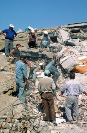 YALOVA, TURKEY-AUGUST 17 : The 1999 Izmit earthquake was a 7.6 magnitude earthquake that struck northwestern Turkey on August 17, 1999. The event lasted for 37 seconds, killing around 17,000 people. Editorial