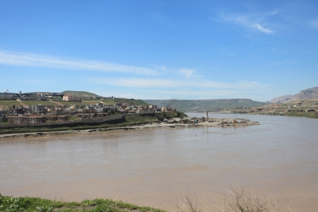 Tigris River and Cizre city in kurdistan,Turkey
