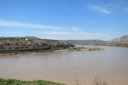 Tigris River and Cizre city in kurdistan,Turkey