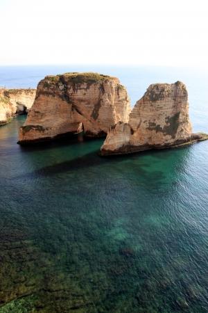 beirut lebanon: Pigeon Rocks, Beirut- Lebanon Stock Photo