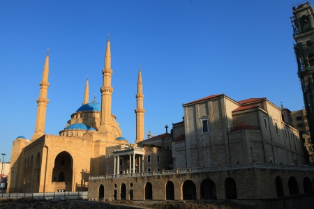 beirut: St  George Church next to the Hariri Mosque in Beirut