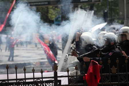 demonstrators: ISTANBUL, TURKEY - MAY 1: The demonstrators who are against to prohibition of 1 May celebration were arrested by the police on May 1,2013 in Istanbul,Turkey Editorial