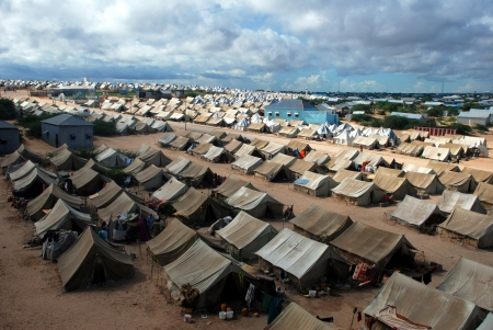 somalia: A general view of the tent camp where thousands of Somali immigrants